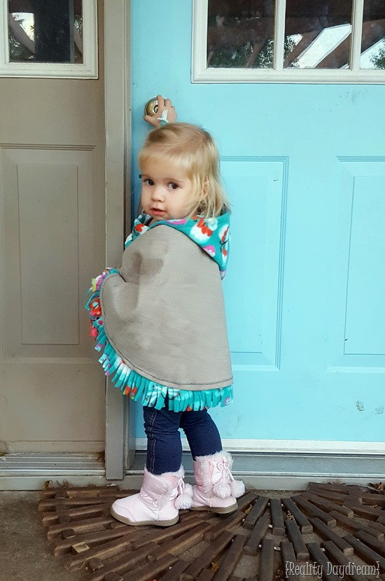 Hooded poncho wrap cape as a jacket or winter coat for toddlers {Reality Daydream}