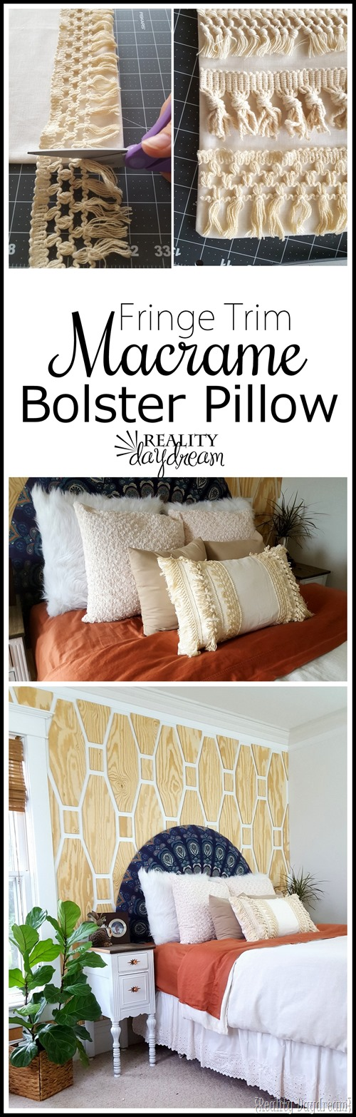 Make this simple bolster throw pillow using a plain pillow cover, macrame tassel fringe trim, and fabric glue (no sew!)