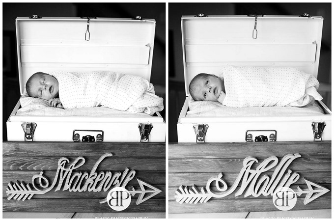 Newborn pics in a suitcase with arrow name plaque - Photography by Jennifer Black