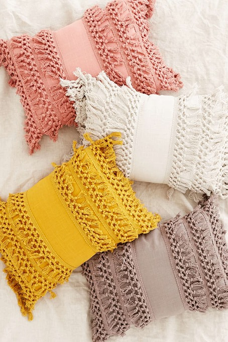 Urban Outfitters' version of the Fringe Macrame Tassel pillow