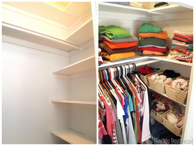 Add custom DIY shelving to your builder basic closet... and get SO MUCH MORE storage {Reality Daydream}