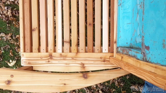 Beautifully handcrafted Tailgate Bench out of Cedar.