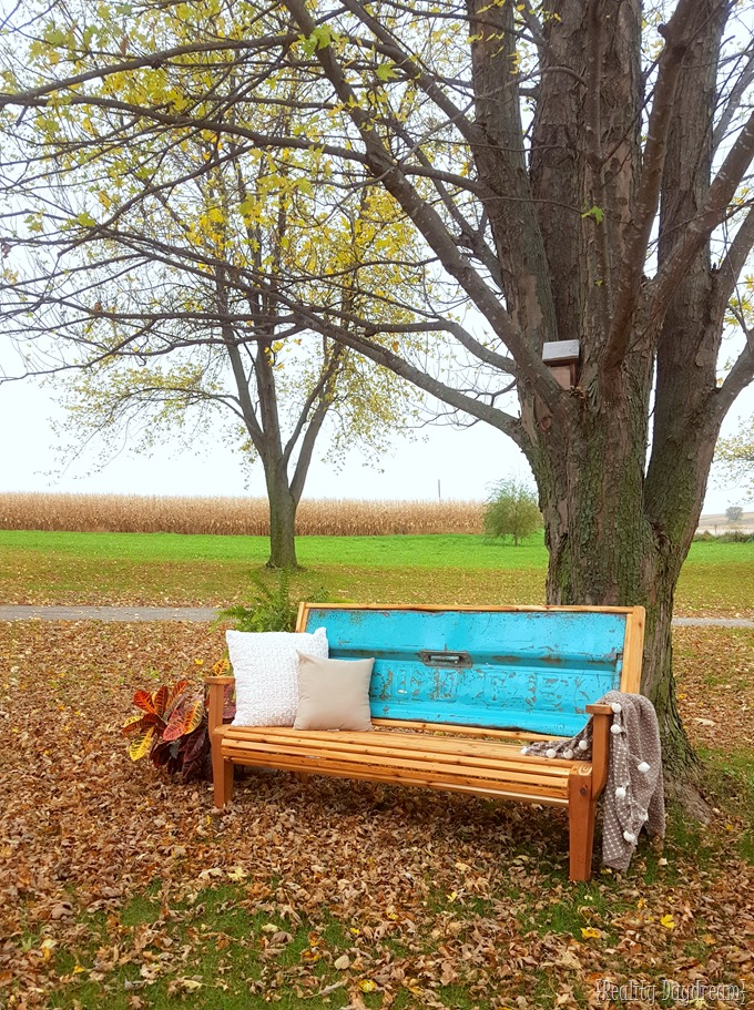 Chippy Blue Tailgate Bench with Cedar Slats.