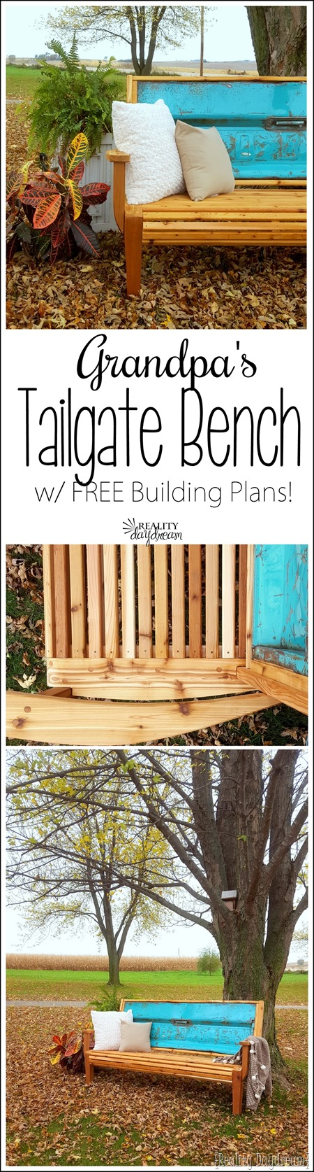 Chippy blue tailgate made into this beautifully detailed Tailgate Bench with Cedar slats. Tutorial and FREE building plans! {Reality Daydream}
