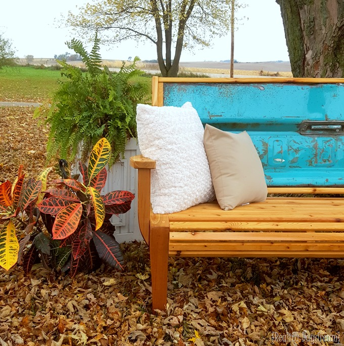 Chippy teal Tailgate Bench with Cedar Slats!