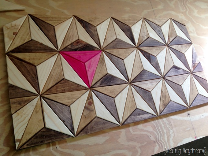Geometric 3D illusion artwork... all pieces cut from one board! {Reality Daydream}