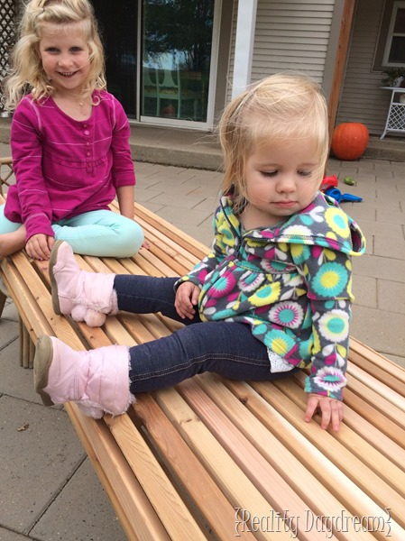 The girls approve of the bench seat!