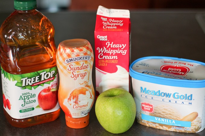 Ingredients for this Caramel Apple Shake! YUM!