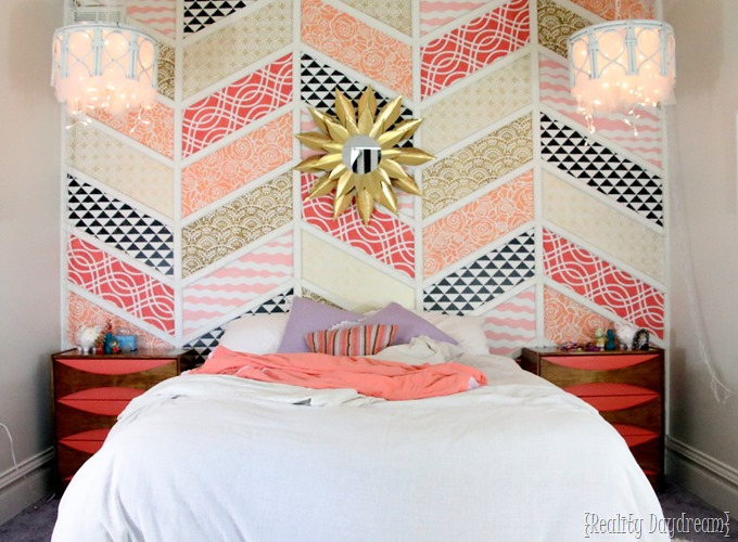 Little girls' bedroom with Stenciled Patchwork Herringbone Accent Wall! {Reality Daydream}
