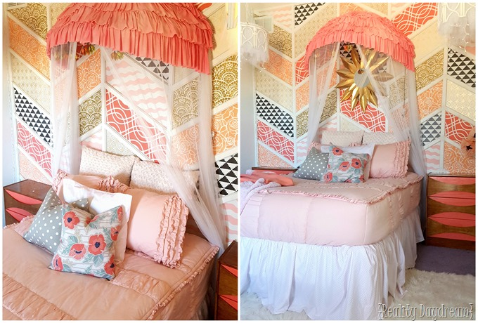 Make a canopy using an old papasan chair frame... cut in half! {Reality Daydream}