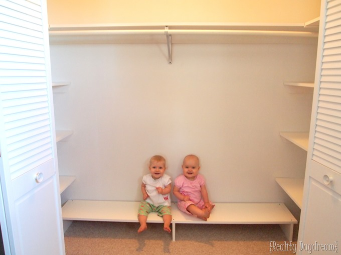 Our cute babes in the newly 'remodeled' closet! {Reality Daydream}