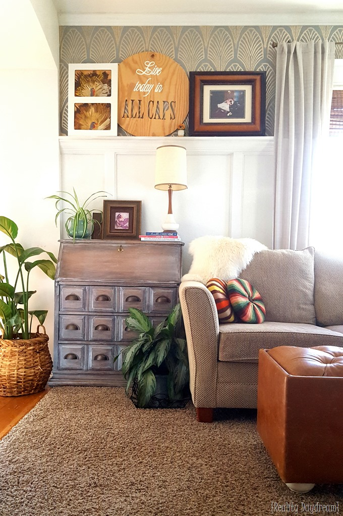 Our living room, with picture ledge and Thanksgiving Turkey Kids Art {Reality Daydream}