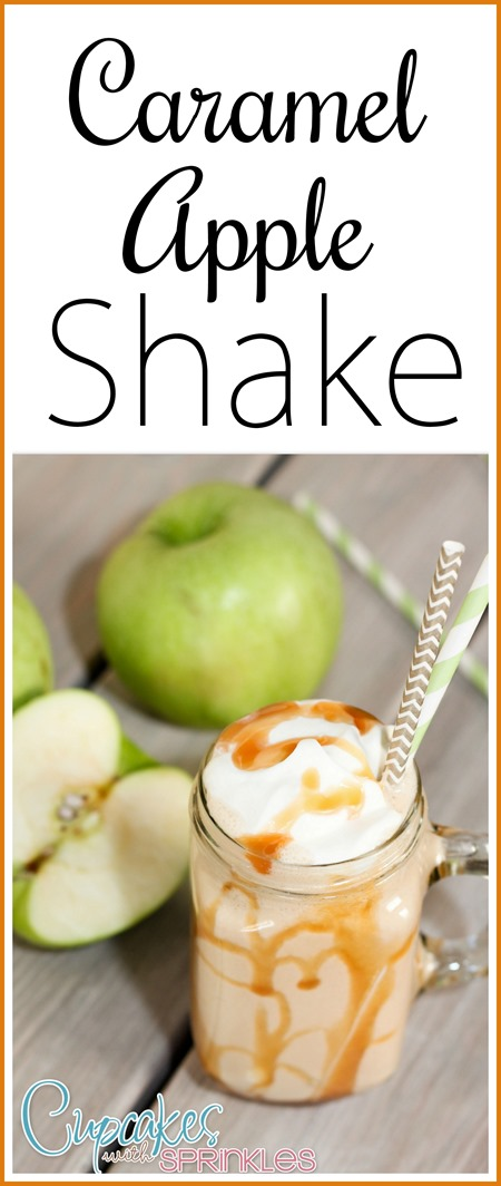 Recipe for this CARAMEL APPLE SHAKE! Yum!