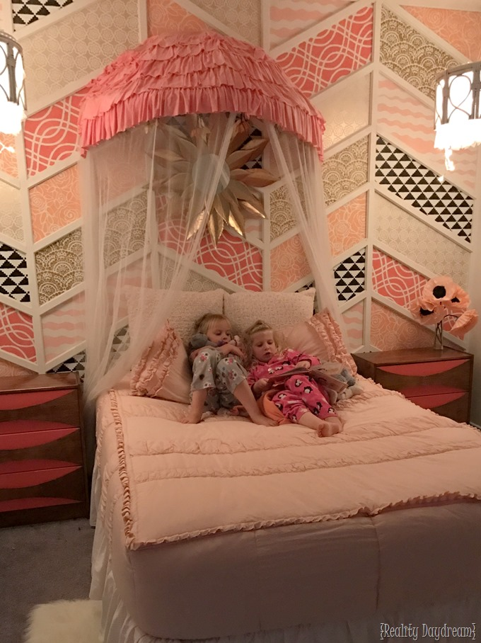 Sy twins in their new room with canopy bed (using a papasan chair frame CHOPPED in half!) - Reality Daydream
