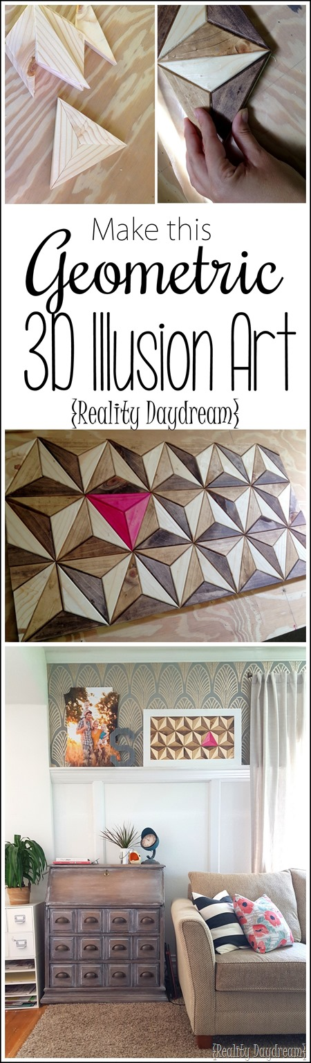 TUTORIAL for making this Geometric 3D Illusion Artwork out of wooden triangles!