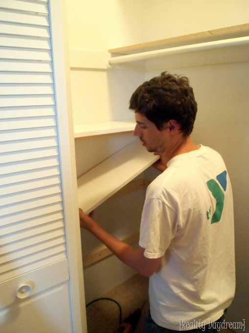 Test fitting our DIY Shelves for our builder basic closets! {Reality Daydream}