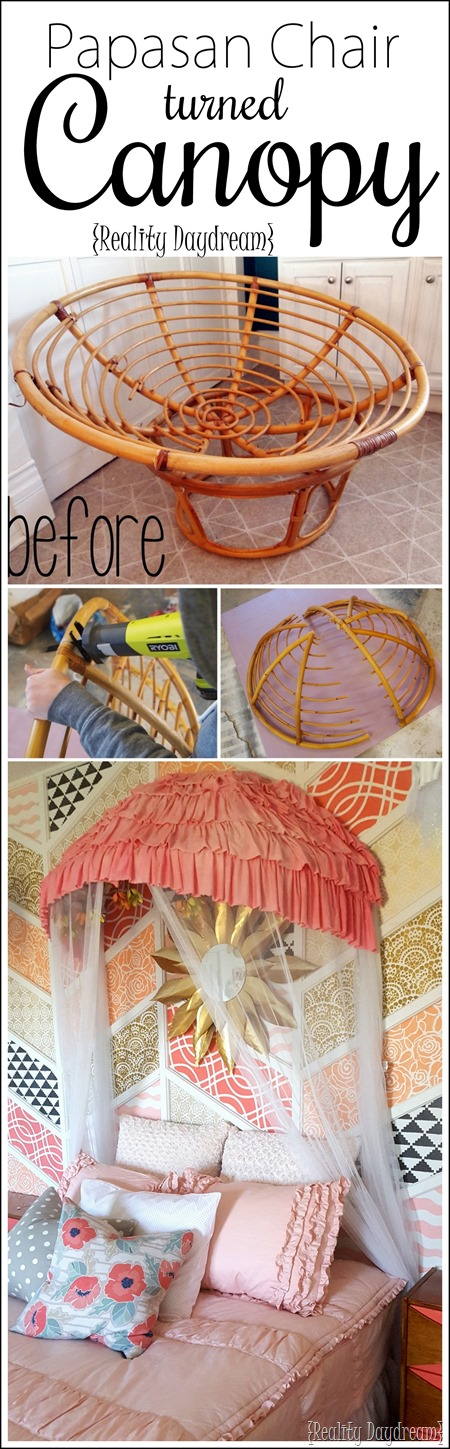 Use an old papasan chair frame (cut in half) to make a canopy for a little girls bed or reading nook {Reality Daydream)