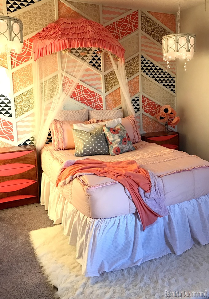 Use an old papasan chair frame (cut in half) to make a canopy for a little girls bed or reading nook {Reality Daydream}
