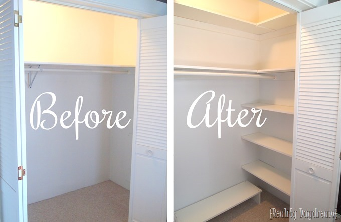 You can add SO MUCH extra space to your closet by just adding some DIY  Shelving. DIY Custom Closet Shelving Tutorial  Reality Daydream