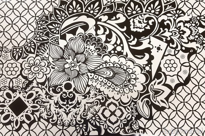 Adult Coloring Page on a giant wood canvas... using STAIN PENS and vinyl decal as a stencil! {Reality Daydream}