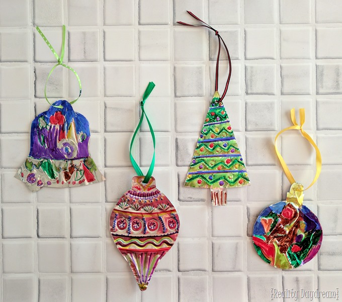 DIY Christmas Ornaments... made by Embossing Foil or Metal and coloring with Sharpies! {Reality Daydream}