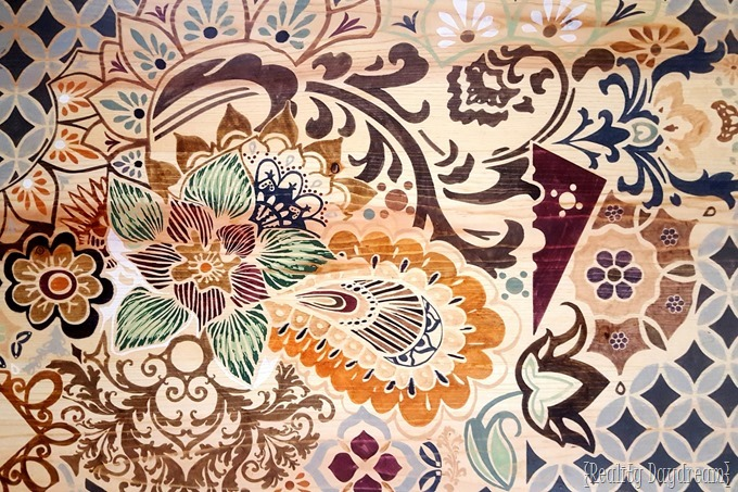 Large Scale Wall Art 'Adult Coloring Book' style! On a giant wooden canvas and colored in with stain pens! {Reality Daydream}