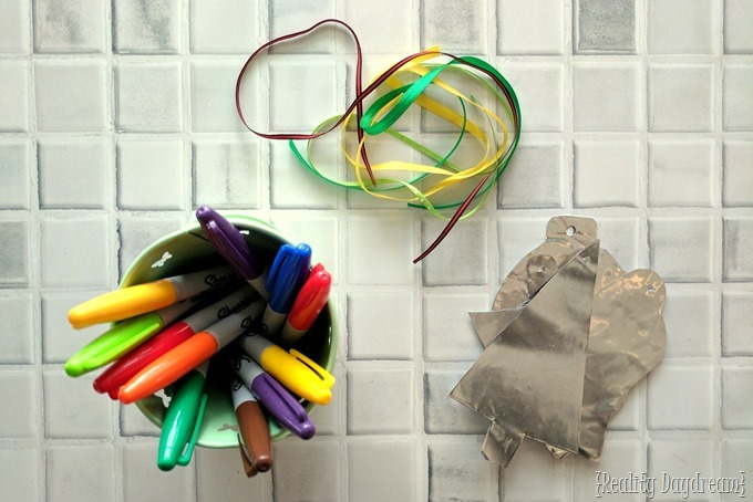 Supplies for making Embossed Foil Ornaments... such a fun Christmas kids craft too! {Reality Daydream}