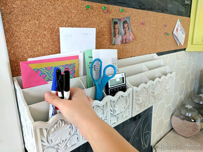 Adding mail sorters and cork board to your chalkboard command center! {Reality Daydream}