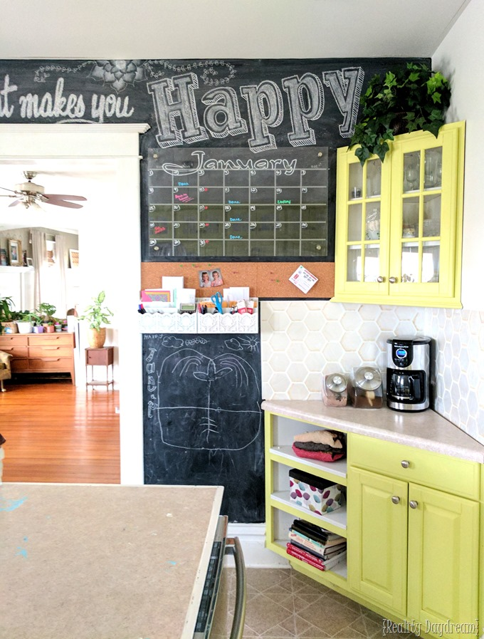 Chalkboard Wall Command Center with chalk art, acrylic calendar, and a place for the littles to color! {Reality Daydream}