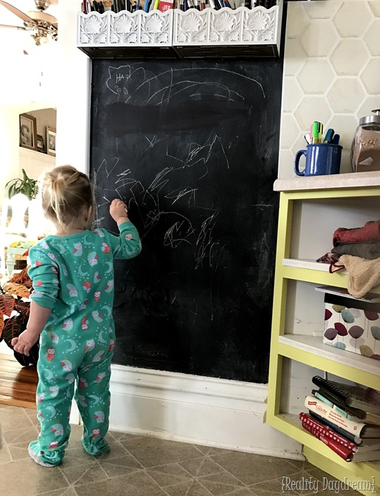 Chalkboard accent wall and command center in-one! {Reality Daydream}