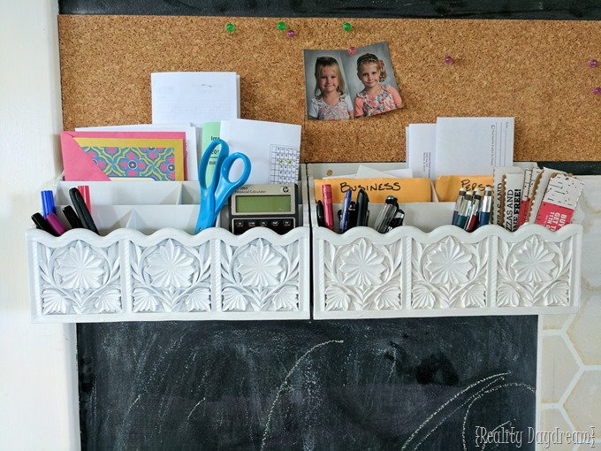 Chalkboard wall command center with mail sorters, cork board, and an acrylic calendar! {Reality Daydream}