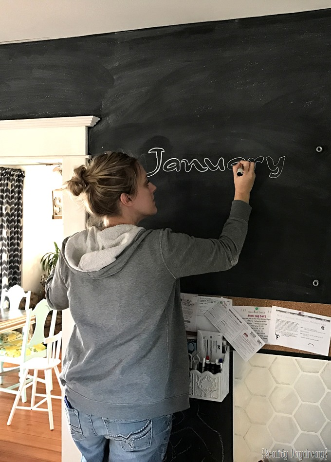 Chalkboard wall with plexiglass calendar... the ultimate command center! {Reality Daydream}