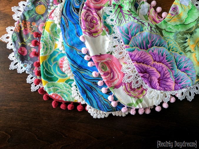 Drool bibs for baby or toddler... super custom! #lace #pompoms #diy {Reality Daydream}.jpg