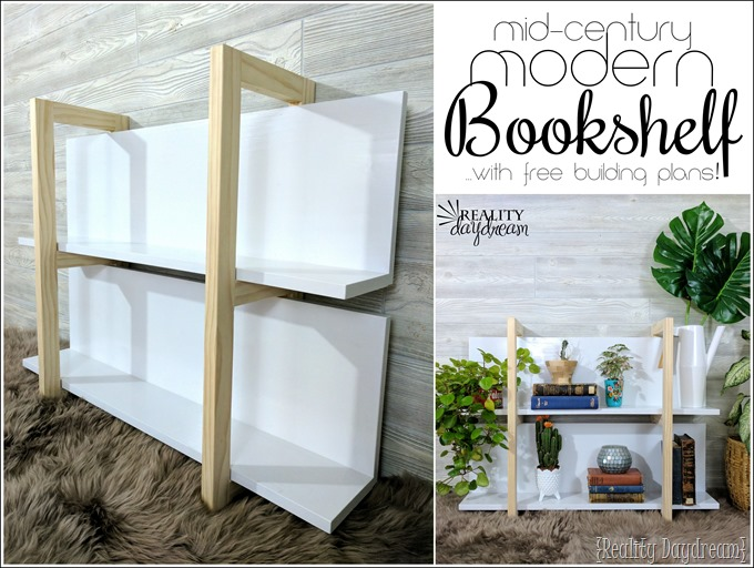 FREE Building Plans for this Mid-Century Modern Bookshelf with clean lines! {Reality Daydream }