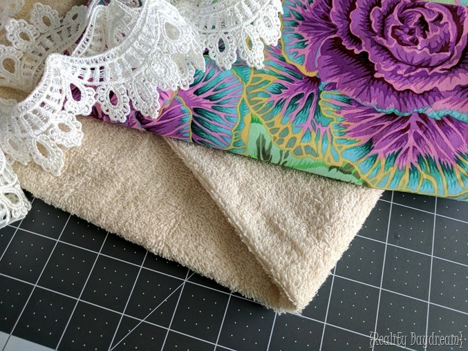 Gorgeous fabric and lace to make drool bibs for babies and toddlers! {Reality Daydream}