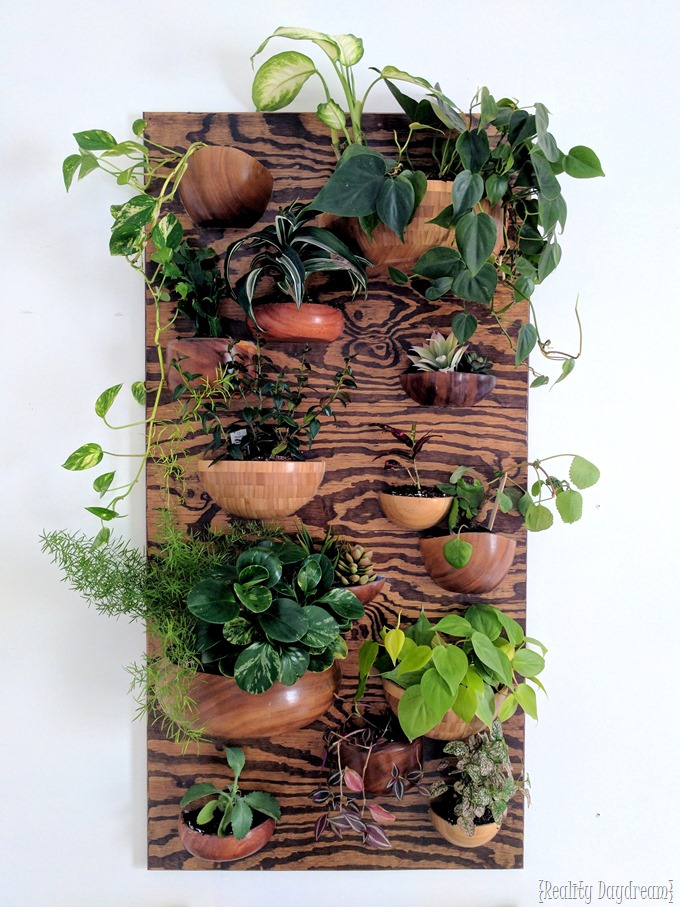 Living wall planter made from wooden bowls! {Reality Daydream}