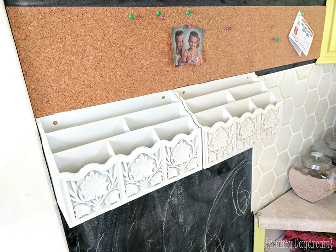 Mail sorters and cork board to this chalkboard command center! {Reality Daydream}