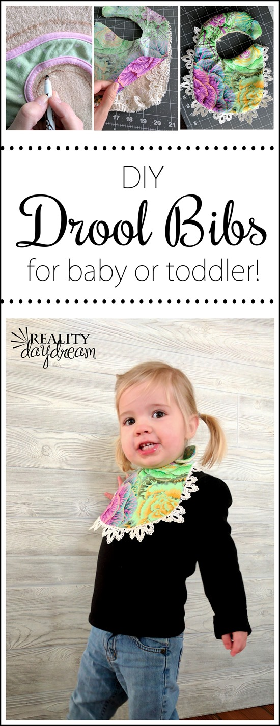 Make darling 'drool' bibs with fun fabric and trim... pompoms or lace! {Reality Daydream]