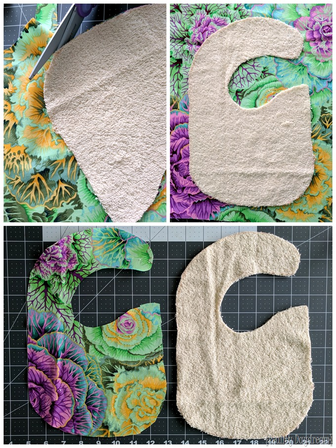 Make darling lacey bibs using an old ugly bib as a template {Reality Daydream}