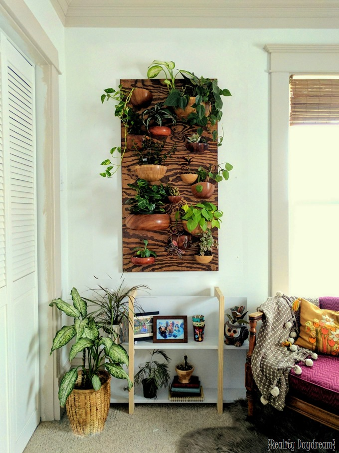 Make this... Vertical PLanter Living Wall with wooden bowls cut in half! {Reality Daydream}
