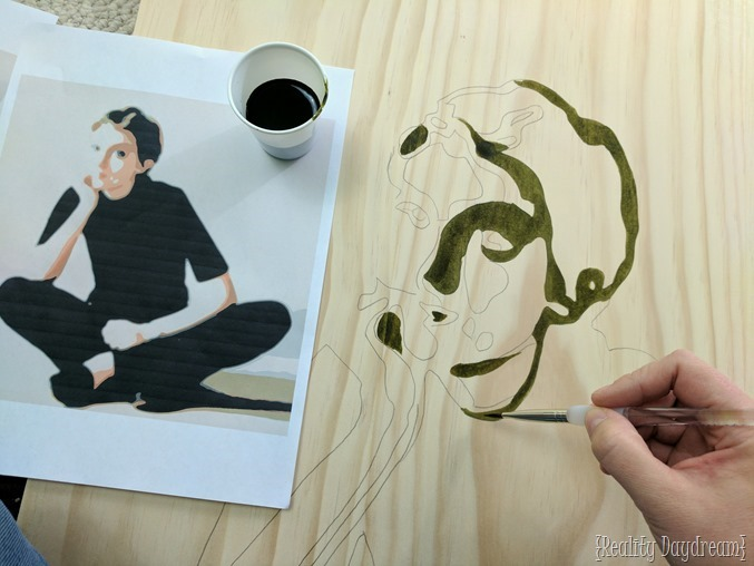 Painting a posterized portrait using wood stain on a wooden canvas! {Reality Daydream}