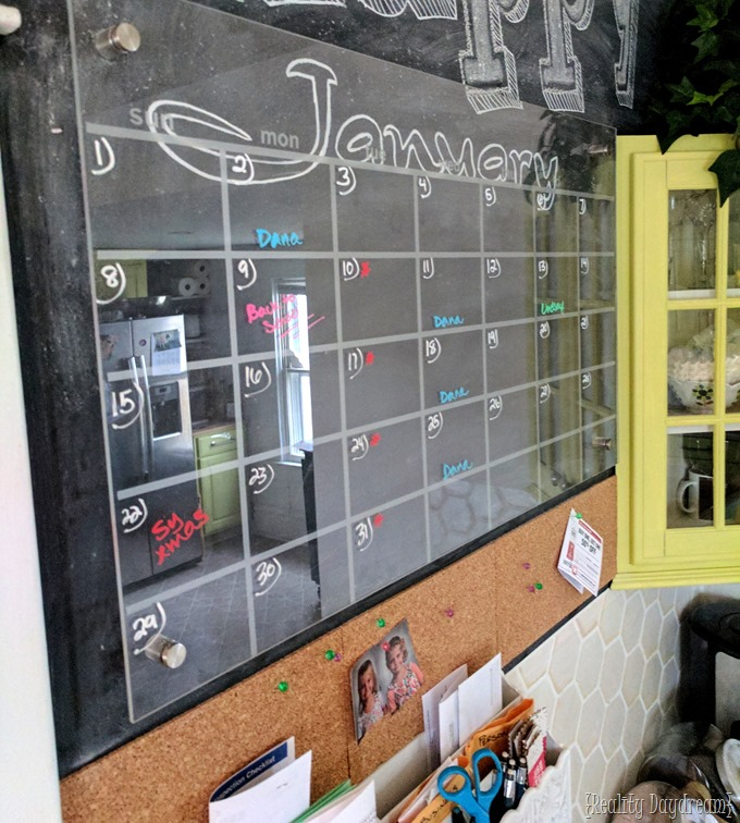 Plexiglass Acryllic Calendar over Chalkboard Command Center Wall! {Reality Daydream}