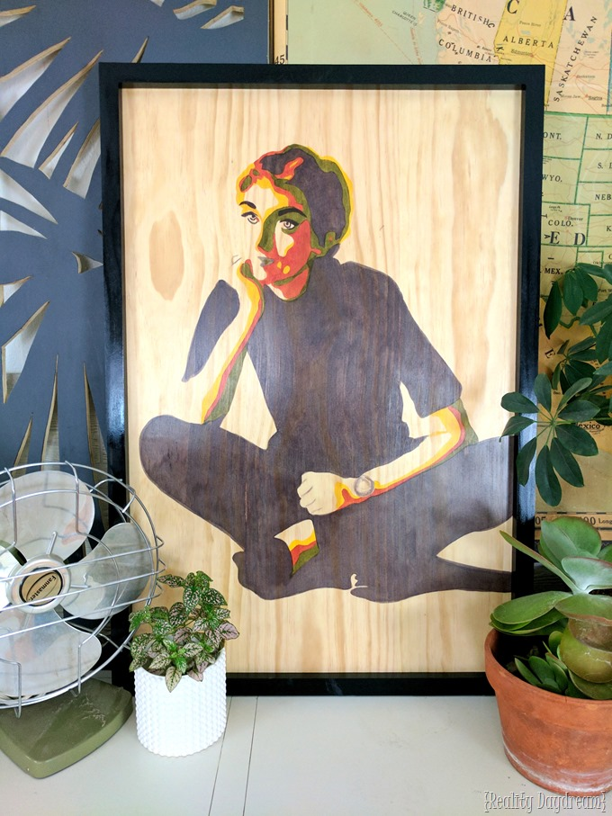 Posterized art portrait with stain on wood... a tutorial! {Reality Daydream}