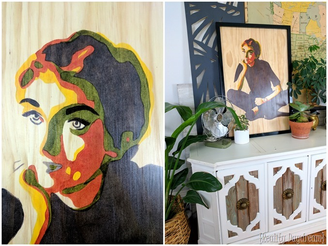 Posterized stained art portrait on a wooden canvas {Reality Daydream}