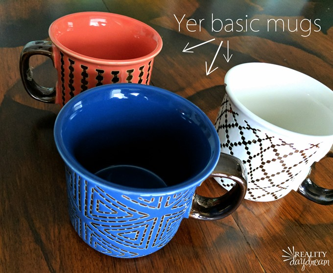 Turn basic ceramic mugs (or just about any vessel) into planters with holes in the bottom! {Reality Daydream}
