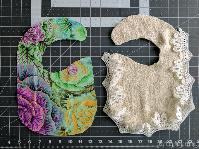 Tutorial on making your own drool bibs for baby or toddler! This girly version has lace! {Reality Daydream}