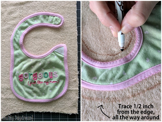Use an exsisting bib as a template to make another (far cute) bib! {Reality Daydream}