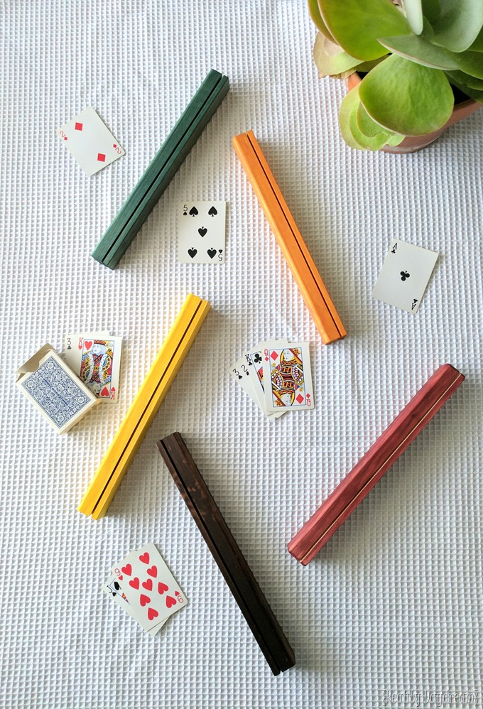 Wooden playing card holders for kids.! BRING BACK FAMILY GAME NIGHT! {Reality Daydream}