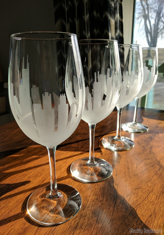 Acid Etched Skyline Wine Glasses #chicago #stemware {Reality Daydream}