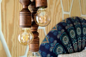 Cluster of Wooden Pendant Lights hung over bedside table! TUTORIAL by Reality Daydream}